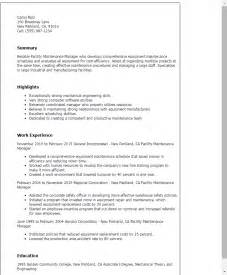 Facilities Maintenance Manager Sle Resume by Professional Facility Maintenance Manager Templates To Showcase Your Talent Myperfectresume