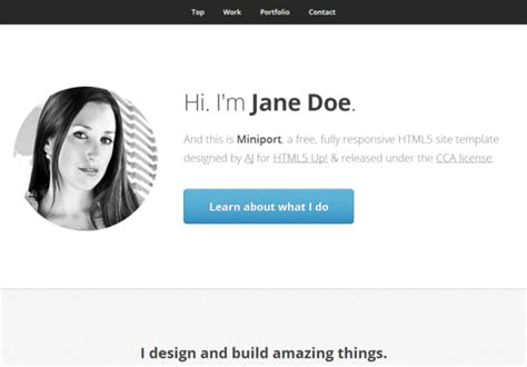 Miniport Responsive Html5 Theme Html5xcss3 Html5 Personal Website Template