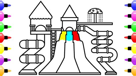how to color water how to draw water park for coloring page for