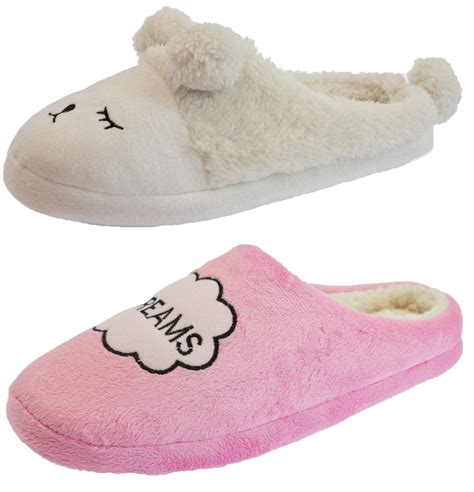 womens novelty slippers womens fur lined slippers novelty slip on mules cushioned