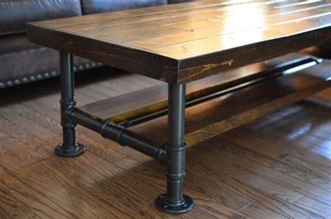 Pipe Leg Coffee Table Industrial Knotty Pine Coffee Table With Steel Pipe Legs With Lower Wood Shelf Top 18 Quot W X 36 Quot L