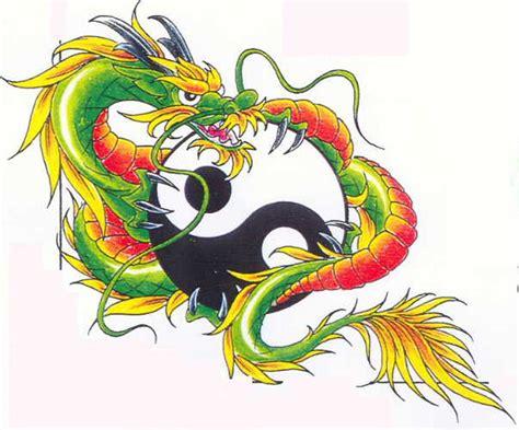 green dragon tattoo designs green and yin yang design