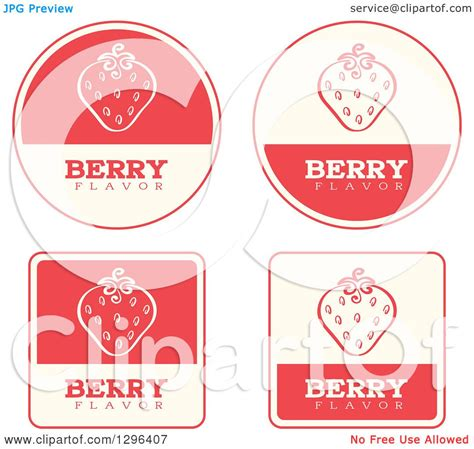 Label Segi 4 Motif Strawberry Pink clipart of a set of pink and beige strawberry fruit flavor