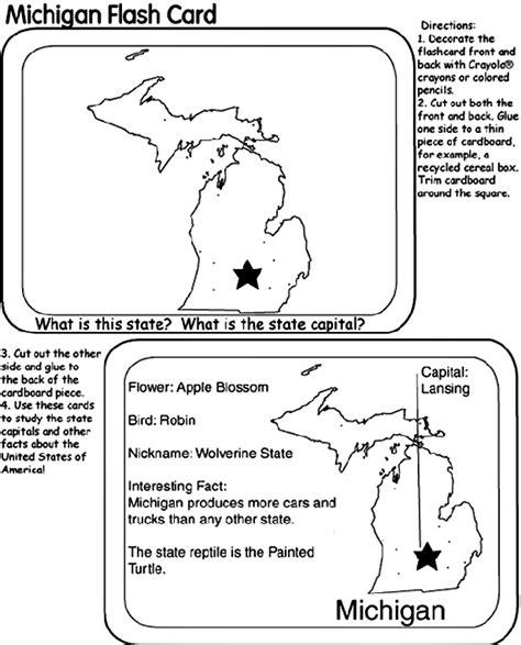 printable michigan postcards us state flash cards michigan crayola com au