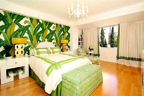 greenhouse bedroom glorious green tropical palm beach wall decals added white