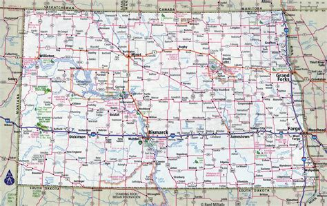 dakota road map with cities large detailed roads and highways map of dakota