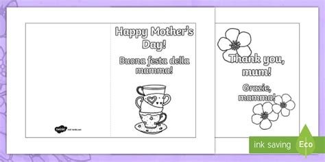 Mothersday Card Template by S Day Card Templates Colouring Italian