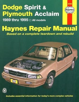 free car repair manuals 1995 dodge spirit navigation system dodge spirit plymouth acclaim repair manual 1989 1995 haynes