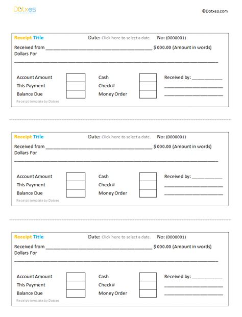 receipt template docs printable receipt template