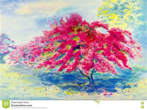 couleur originale de de peinture de paysage d aquarelle de bouganvill 233 e illustration stock