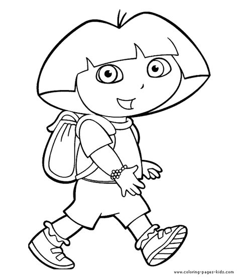 Coloring Pictures Of Dora The Explorer Characters | dora the explorer color page coloring pages for kids