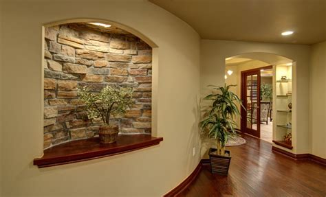 Decorating Ideas For Living Room Wall Niche Basement Curved Wall And Niche Traditional Basement