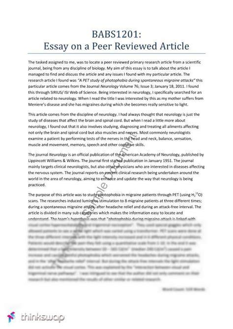 Review Essays by Babs1201 Essay 1 Peer Reviewed Article Babs1201