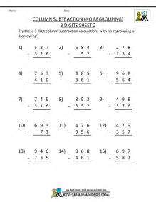 3 digit subtraction worksheets