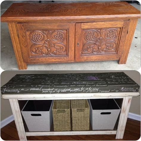 diy tv bench old tv stand repurposed into a storage bench topped with