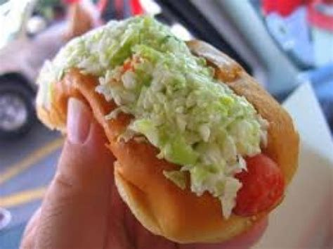 slaw dogs slaw dogs with mustard recipe dishmaps
