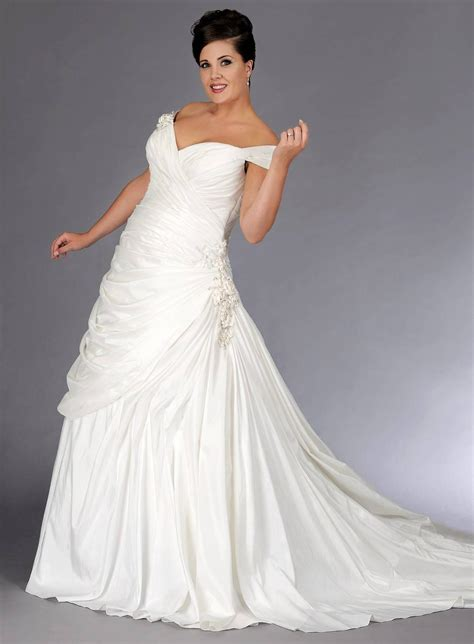 off the shoulder plus size a line wedding gown