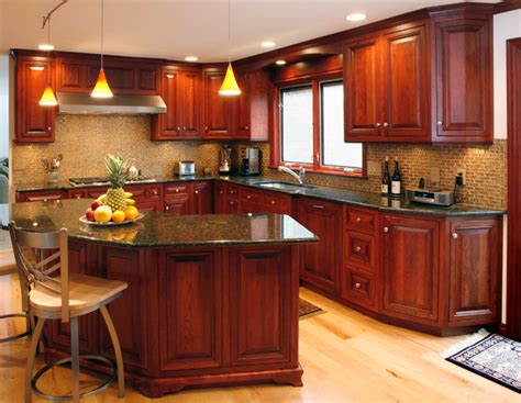 dark cherry kitchen traditional kitchen  metro