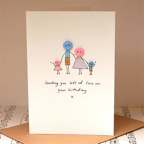 Handmade Family - personalised button family handmade card by