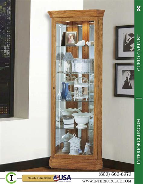 680347 howard miller oak corner curio cabinet with crystal