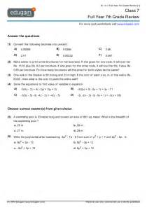 grade 7 math worksheets and problems full year 7th grade