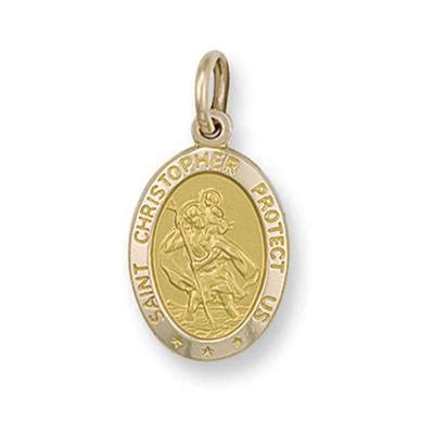 shaped st on jewelry yellow gold sided oval shaped st christopher pendant