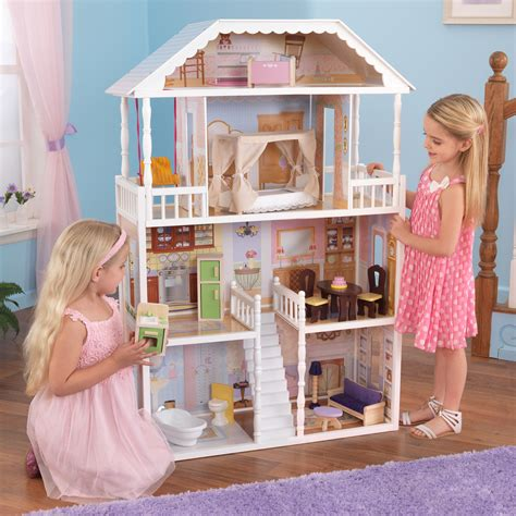 girls wooden doll house kidkraft savannah dollhouse girls play wood play doll house 65023 ebay