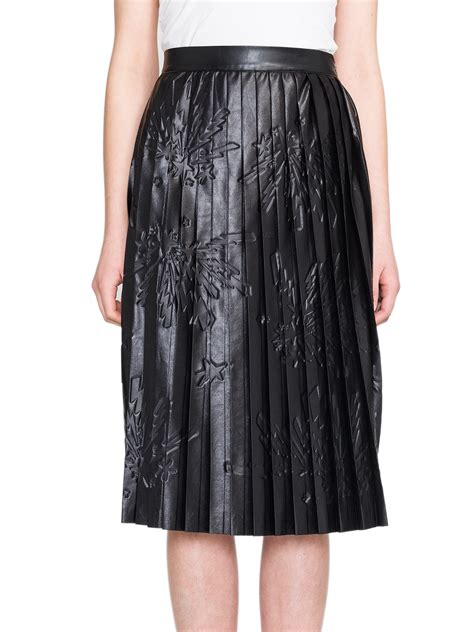 msgm pleated printed faux leather midi skirt in black