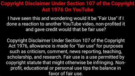 Copyright Disclaimer For Youtube Under Section 107 Of