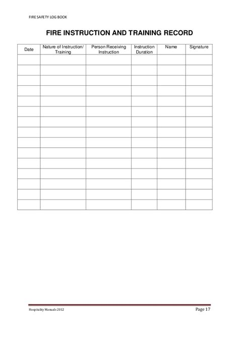 alarm log book template safety log book 2012