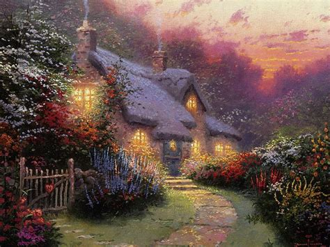 kinkade cottage painting kinkade cottage paintings of light