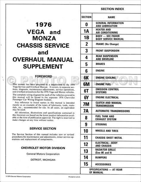 car repair manuals online pdf 1975 chevrolet monza parking system 1976 chevrolet vega monza repair shop manual supplement original