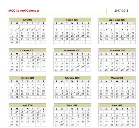 School Calendar 2017 18 Template