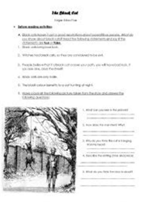 The Black cat pre-reading activity - ESL worksheet by patita1