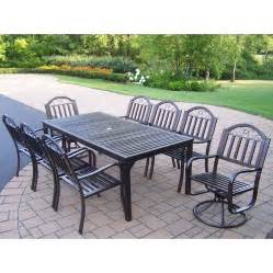 Wrought Iron Patio Dining Set Shop Oakland Living 9 Slat Wrought Iron Patio Dining Set At Lowes