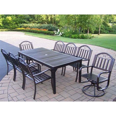 shop oakland living 9 slat wrought iron patio dining