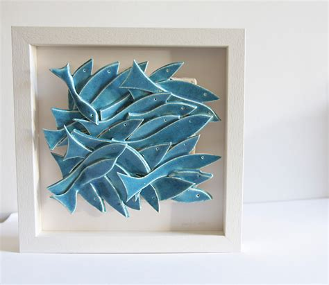 wall sculpture ceramic wall school of fish white and - Ceramic Wall Decorations