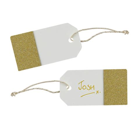 gold tags ivory and gold glitter luggage tags by notonthehighstreet