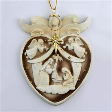nativity heart ornament holy family christmas tree