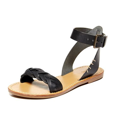 Flat Shoes A128 10 Brand Original brand new in box womens soludos braided ankle leather flat sandals ebay