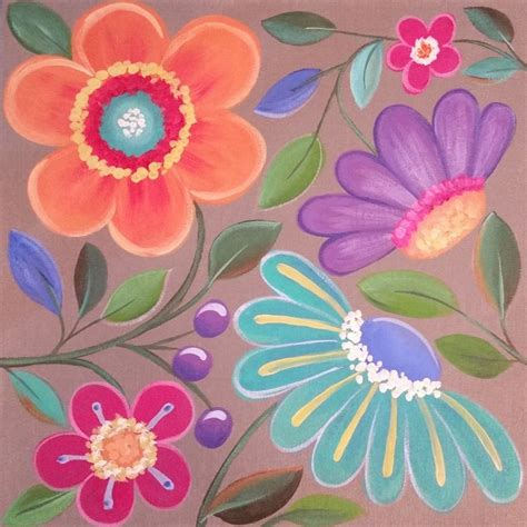 easy acrylic painting ideas flowers easy whimsical flowers acrylic painting tutorial for