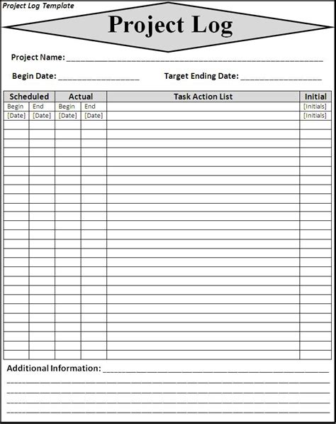 project journal template project log template word excel formats