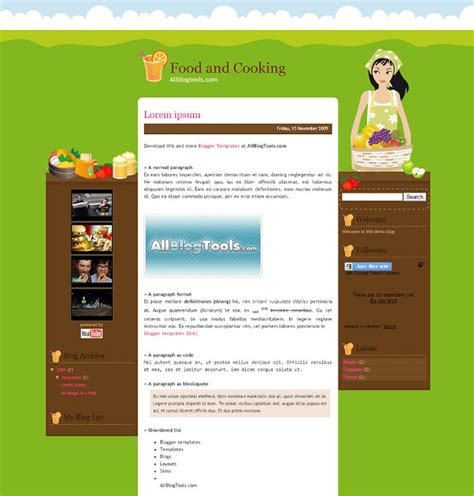 recipe templates for blogger food recipe blog website templates themes free