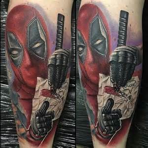 12 the iconic deadpool oops face tattooed