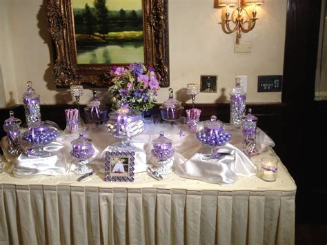 35 Purple and White Wedding Candy Buffet Ideas   Table