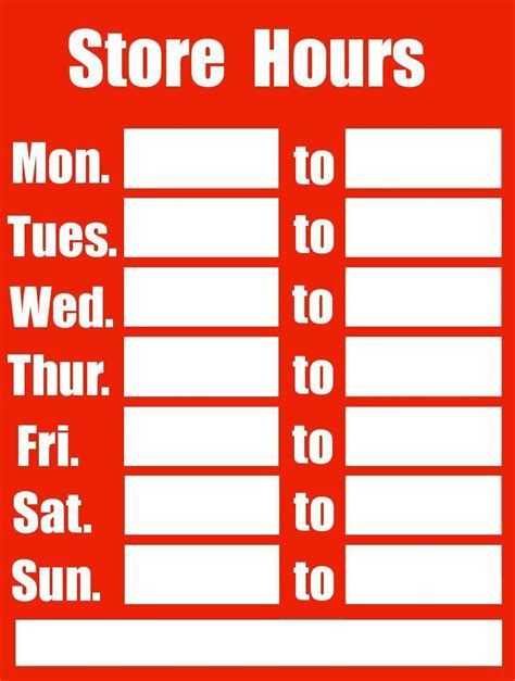 business hours sign red page frames full page signs
