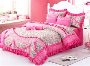 King Size Bedding With Ruffles Leopard Ruffled Frilly Tulle Cotton