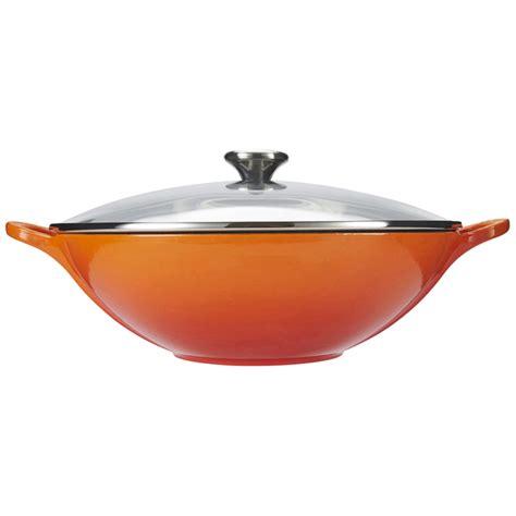 le crueset wok le creuset cast iron wok with glass lid 32cm volcanic