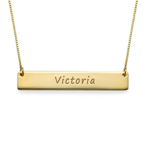 personalised 9ct yellow gold name bar necklace
