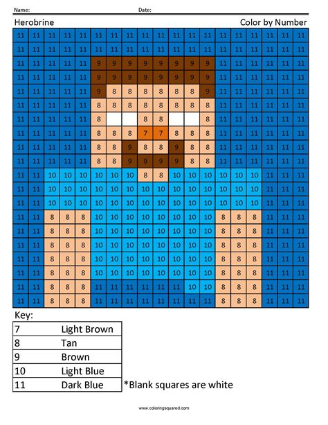 minecraft coloring page by numbers herobrine color by number coloring squared